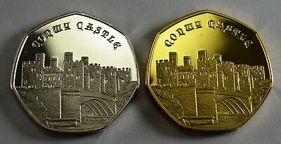 Pair of CONWY CASTLE Commemoratives. 24ct Gold. Silver. Albums/Filler NEW 2019