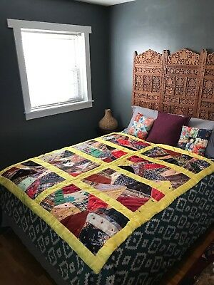 """Vintage Handmade Crazy Quilt 66 3/4"""" x 60"""" Yellow Borders As Is"""
