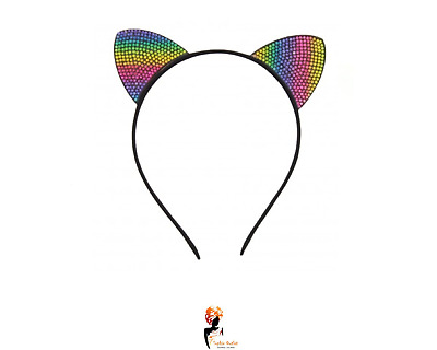 BLACK SEQUIN CAT EARS HEADBAND Animal Pony Ears Christmas Fancy Dress Z31353 UK