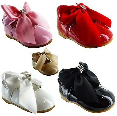 Kids Infants Baby Toodler Girls Diamante Bow Patent Spanish Wedding Shoes Size