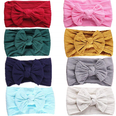 GUIFIER 8 Pack Baby Girl Headbands and Bows for Newborn Toddler Girls,Nylon Hair