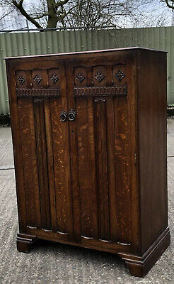 Fine Oak Arts & Crafts Tallboy Cabinet/Childs Wardrobe Very Clean We Deliver
