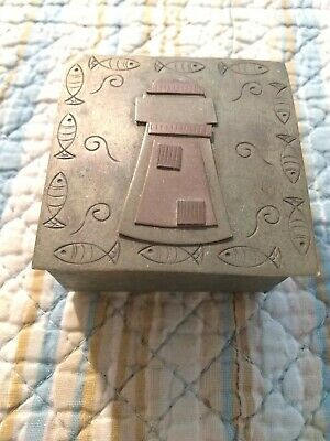 Antique Arts & Crafts Copper & Silver Lighthouse Trinket Box