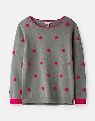 Joules Girls Miranda Intarsia Jumper  - GREY SPOT