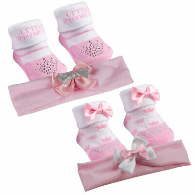 Baby Girl Matching Socks & Head Band Set White with Pink PRINCESS OR CROWN