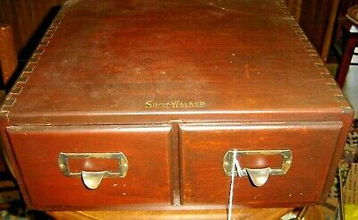 Antique Two Drawer Mahogany Card File ~ Shaw Walker Dove-tailed ~ 887