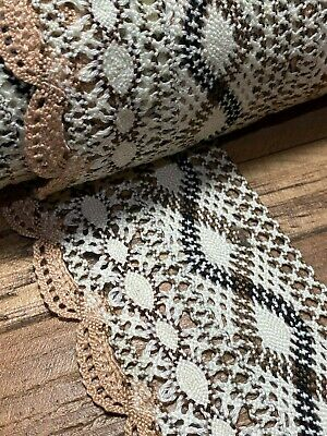 "laverslace Cream Vintage Floral Cotton Cluny Crochet Lace Trim 4.25/""//11cm"