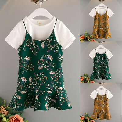2PC Toddler Baby Girl Kid Clothes T-Shirt Tops Casual Overall Dress Outfits C98