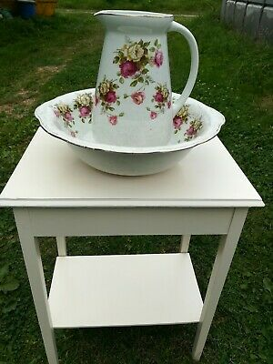 Large Vintage Wash Bowl and Jug Complete with Shabby Chic Vintage Table