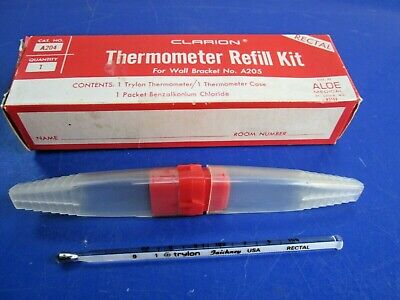 Vintage Trylon Faichney U.S.A Rectal Thermometer and Case in Clarion Refill Kit