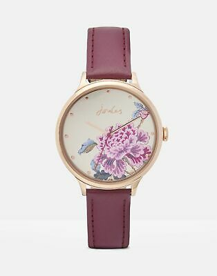 Joules Womens Bloom Ladies Leather Strap Watch in PINK CHINOISE