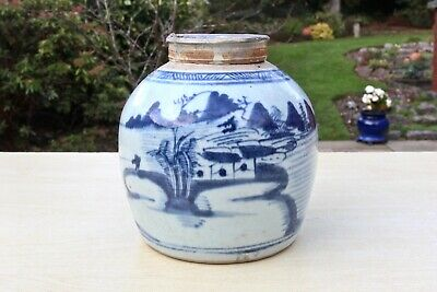 ANTIQUE 1800s BLUE & WHITE HAND PAINTED RURAL SCENE PORCELAIN CHINESE GINGER JAR