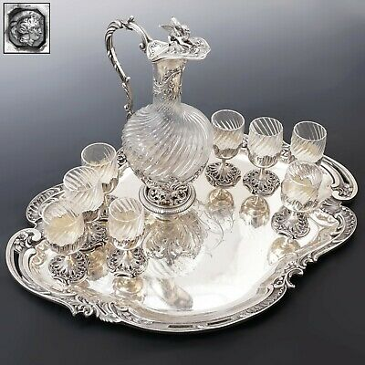 Antique French Sterling Silver Cut Crystal Liquor Service Decanter, Tray, Dragon
