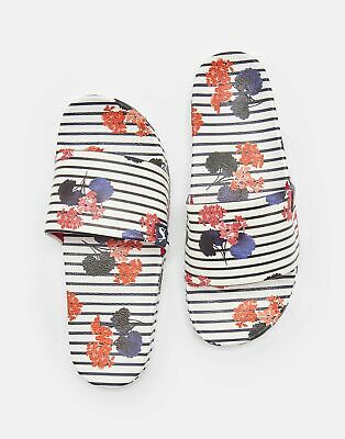 Joules Womens Poolside Printed Sliders - INKY NAVY LILYPADS