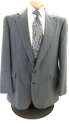 Imperial By Haggar Men's Gray Pinstriped Wool Suit Jacket Sport Coat Size 44L