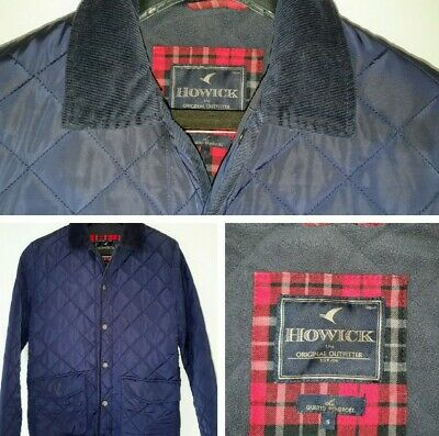 Howick The Quilted Pembroke Navy Blue Mens Small Size Slim Fit Coat Jacket