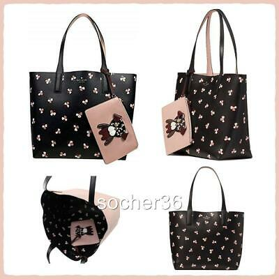Kate Spade Floral Pup Large Reversible Tote With Pouch Wkru6238 Nwt $349