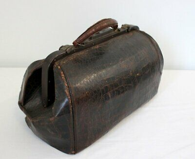 Genuine Old Antique 19th Century Alligator Leather Doctor's Bag NR