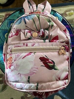 Ted Baker New Girls Pink Floral Backpack/ Rucksack With Rose Gold Zips & Toggles