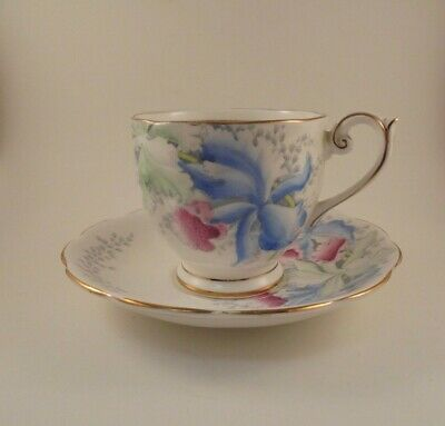 Bell Tea Cup & Saucer Orchids Pink Blue Green Flowers Floral Fine Bone China