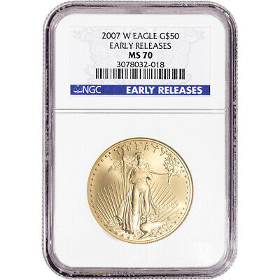 2007-W American Gold Eagle Burnished 1 oz $50 - NGC MS70 - Early Releases