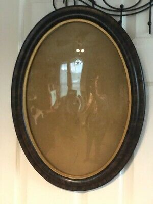 Antique Oval Bubble Glass Carved Large Ornate Tiger Wooden picture/mirror frame