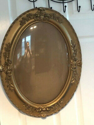 Antique Oval Bubble Glass Carved Large Ornate Wooden picture/mirror frame Gold