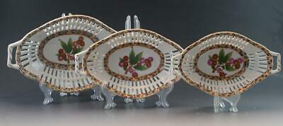 Vintage Group of 3 Chinese Export Porcelain Reticulated Nesting Basket Dishes