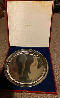 "Vintage Cartier Pewter Serving Platter Tray Plate 11"" Boxed"