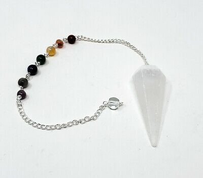 Selenite Gemstone Pendulum with Chakra Chain, Faceted (Natural Crystal Stone)