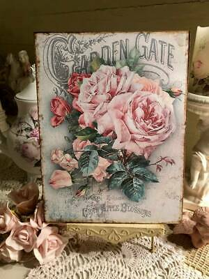 GARDEN GATE Roses, Shabby Chic,  ~ Vintage Style Plaque