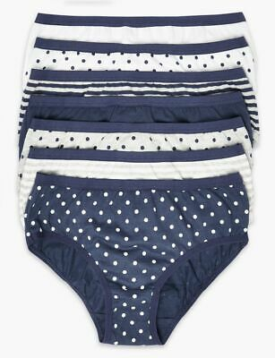 Marks + Spencer GIRLS 7 Cotton BLUE Spotted & Striped Briefs PANTS 1.5-2 Yrs BN