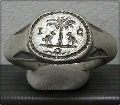 ** TWO LEGIONARY EAGLE in JUADEA CAPTA **Ancient Silver Legionary Roman Ring