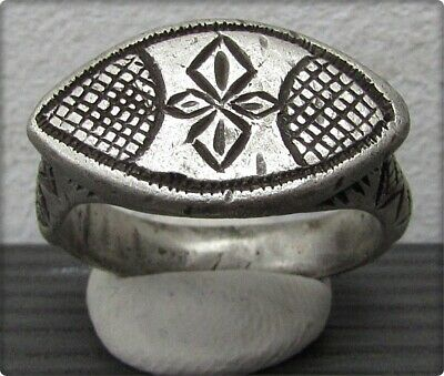 ** CROSS  ** Ancient  Silver Byzantine Christianity Ring **CROSS **