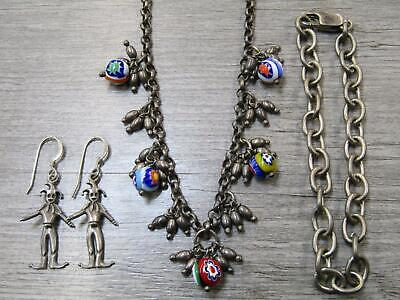 Sterling Silver Jewelry Lot Colorful Glass Bead Necklace Cable Chain Bracelet