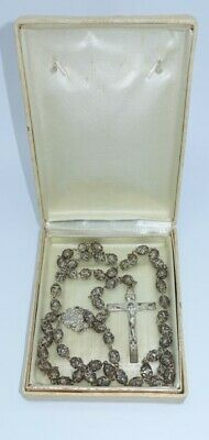 Vintage Chapel Double Capped Silver Filigree Clear Glass Beads Rosary catholic