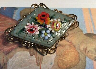 Art Deco 30s Italian Floral Micro Mosaic Ornate flower Rolled Gold Brooch