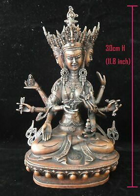 "Rare Large Old Chinese Tibetan Bronze 3 Heads 8 Arms ""GuanYin"" Buddha Statue"