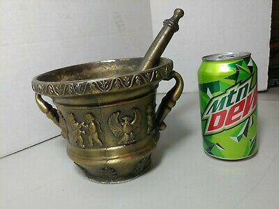 Antique Brass Mortar & Pestle Apothecary cherubs and birds ( eagle or phoenix )