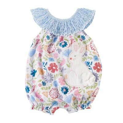 Mud Pie E0 Easter Baby Girl Blue Smocked Bunny Bubble Romper 11030212