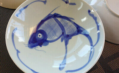 """Hand Painted Serving Bowl Chinese Cobalt Blue & White Asian Koi Fish 9.25"""""""
