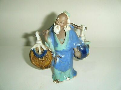 Vintage Chinese Mud Man Figurine Statue Wise Man Holding Plum Good luck 4.5""