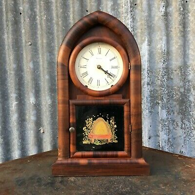 Antique American New Haven Rosewood Mantle Clock,  Beehive, Rounded Steeple