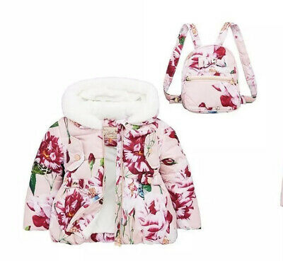 Baker By Ted Baker Girls Floral Padded Coat And Backpack - Pink 2-3 Years