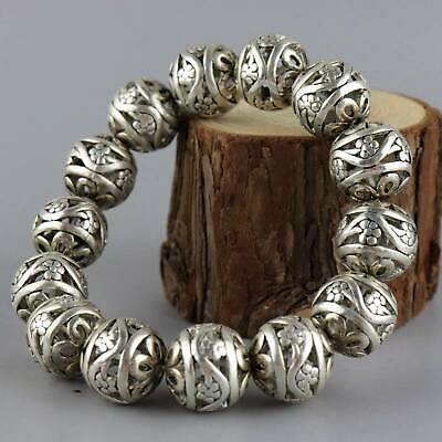 Collect Old Tibet Silver Carve China Special Characters Exquisite Decor Bracelet