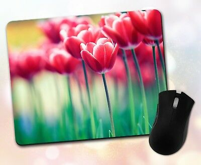 Floral Mouse Pad • Tulips Flowers Wood Planks Nature Gift Decor Desk Accessory
