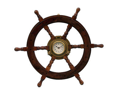 "Ship's Steering Wheel 24"" w/ Antiqued Brass Porthole Clock Wood Nautical Decor"