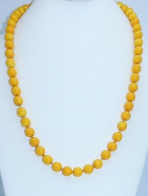 """antique Chinese Peking Glass knotted 10mm beaded 25"""" Necklace vintage mustard"""