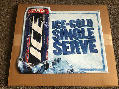 Bud Ice Beer 25oz Can Embossed Tin Sign Game Room Man Cave Bar Anheuser Busch