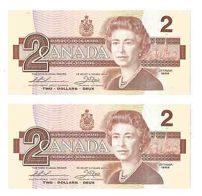 Two 1986 Consecutive Serial Number Two Dollar Canadian Currency Bank Notes